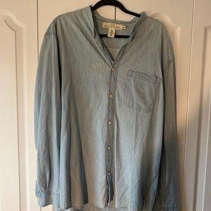 H&M Men's Mandarin color chambray shirt. XL
